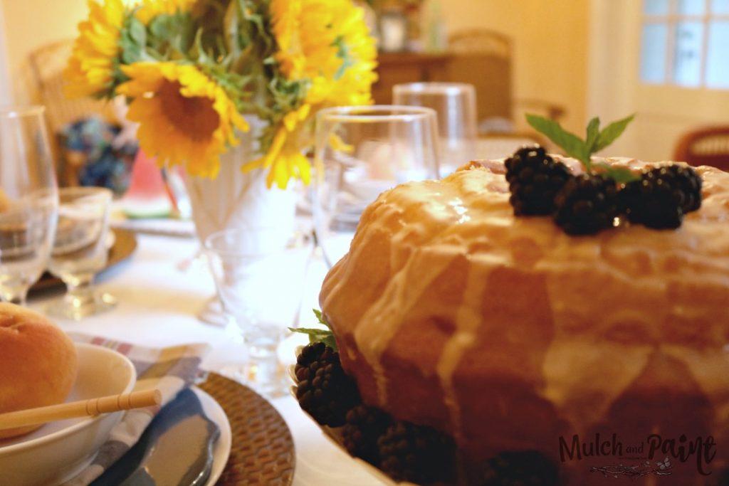 Late Summer Tablescape, Sunflowers, Cake, Blackberries