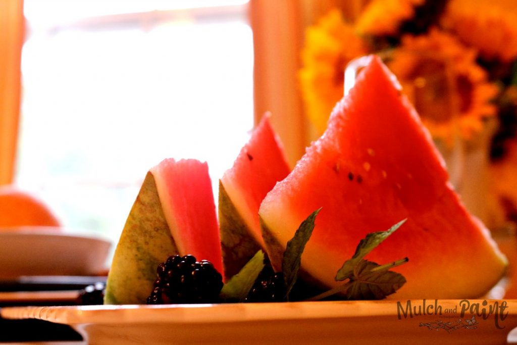 Late Summer Tablescape, Watermelons and Blackberries
