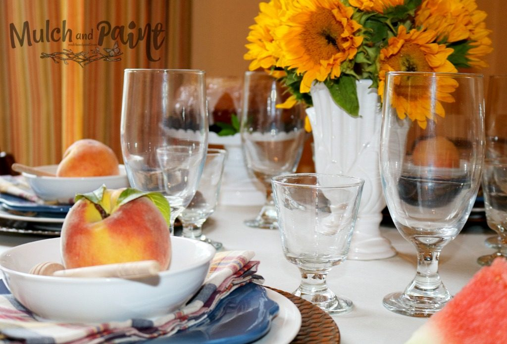 Late Summer Tablescape Peaches and Sunflowers