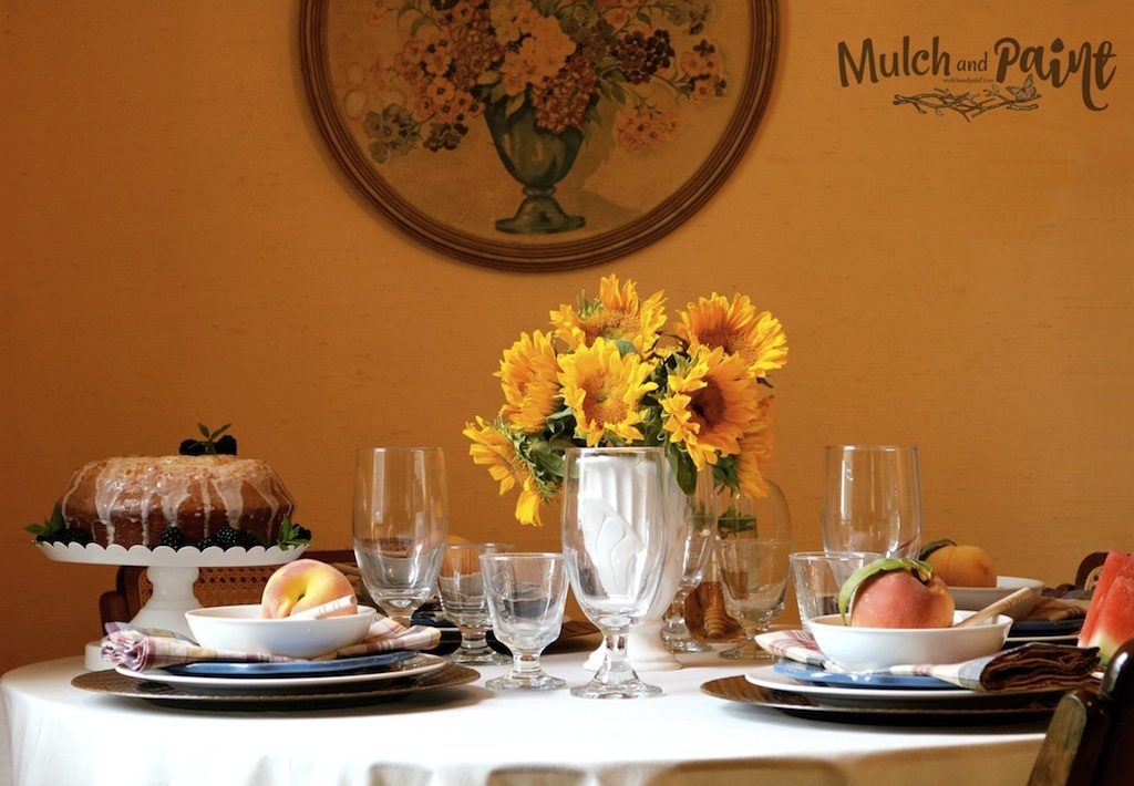 Late Summer Tablescape, Sunflowers, Peaches