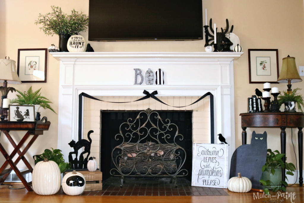 Black and White Halloween Mantle, Black and White Decor, Halloween, BOO letters from Hobby Lobby