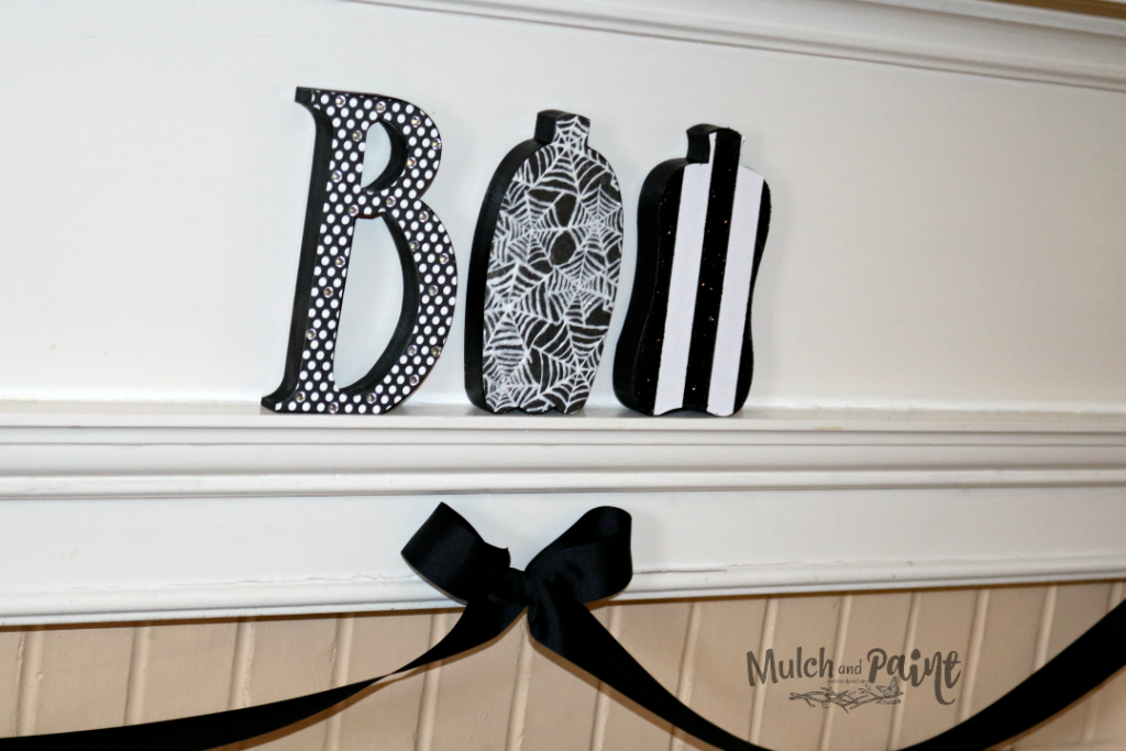 Black and White Halloween Mantle, BOO letters from Hobby Lobby, Black and White Halloween Decor