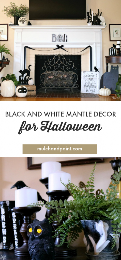 Black and White Mantle, Halloween Black and White, Halloween Mantle