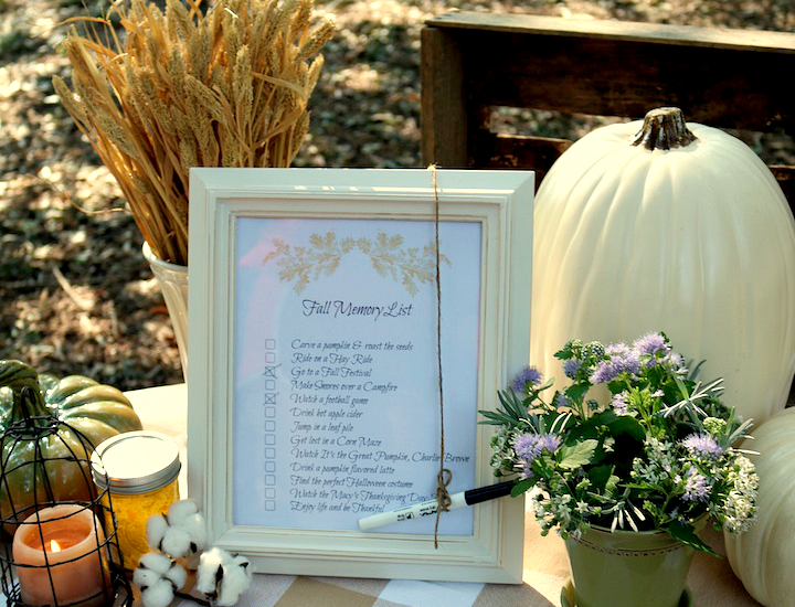 Fall Memory List, Fall Bucket List, Free Fall Printable