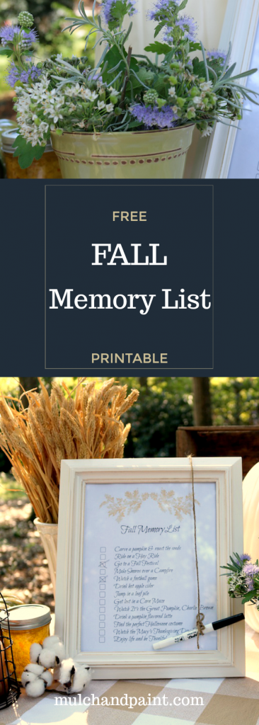 Fall Printable, Fall Memory List, Fall Bucket List, Free Fall Printable
