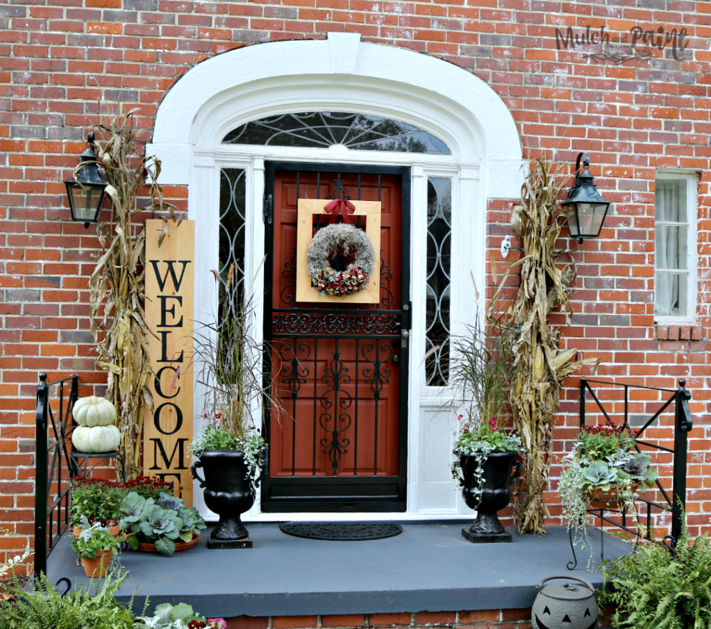 Welcome Sign-Fall front door-pumpkins-cornstalks-mums-pansies