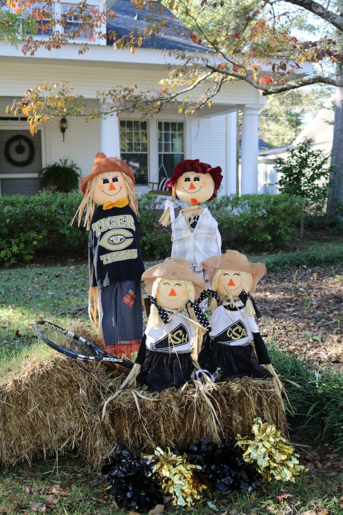 Scarecrow Family with Cheerleaders