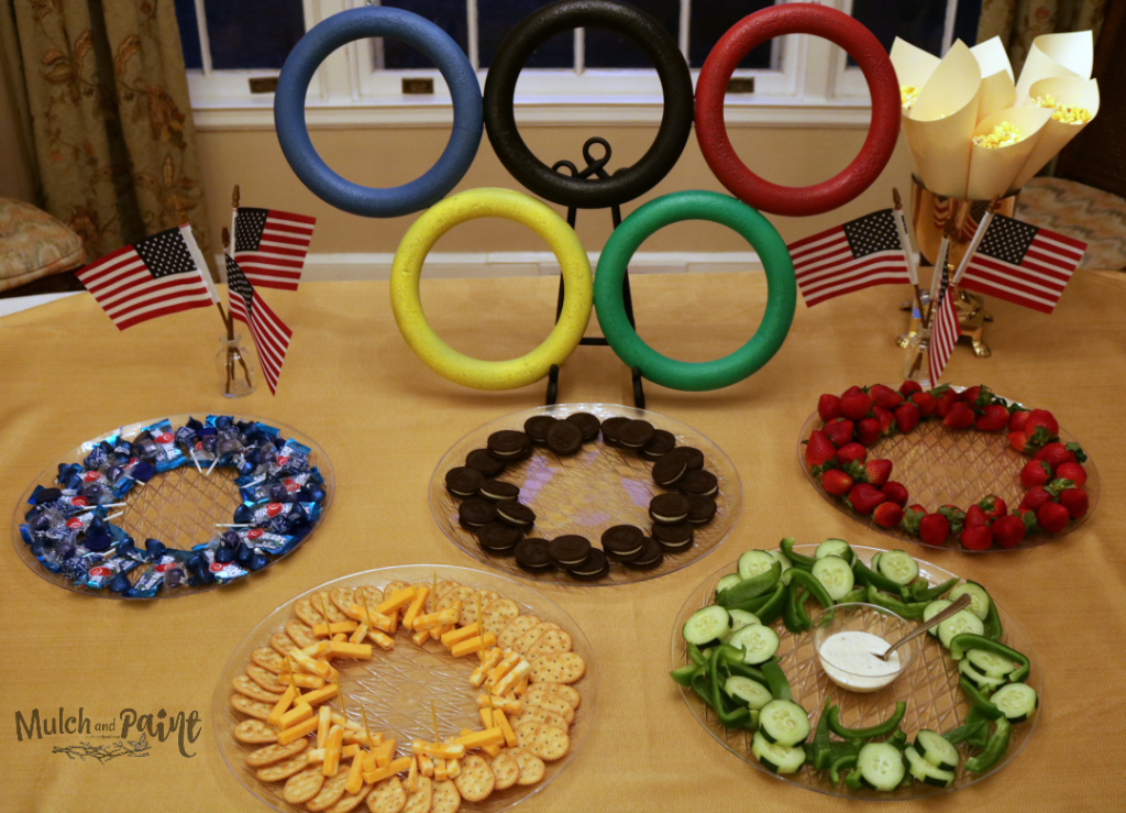 Olympic Party Ideas, DIY Olympic Rings, Olympic Party Snacks