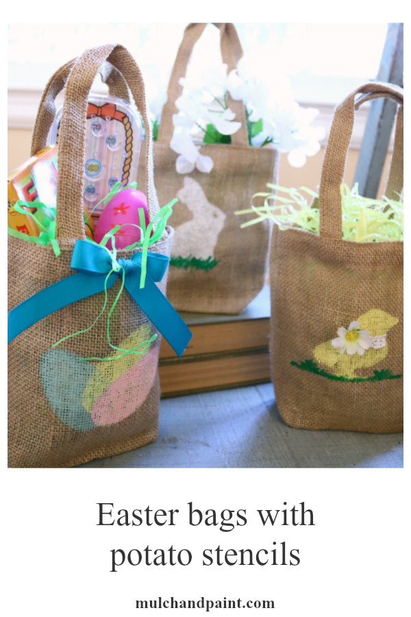Easter bags, DIY Easter, potato stencils