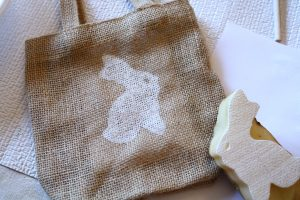 Easter bunny stencil, Easter bag, DIY Easter craft