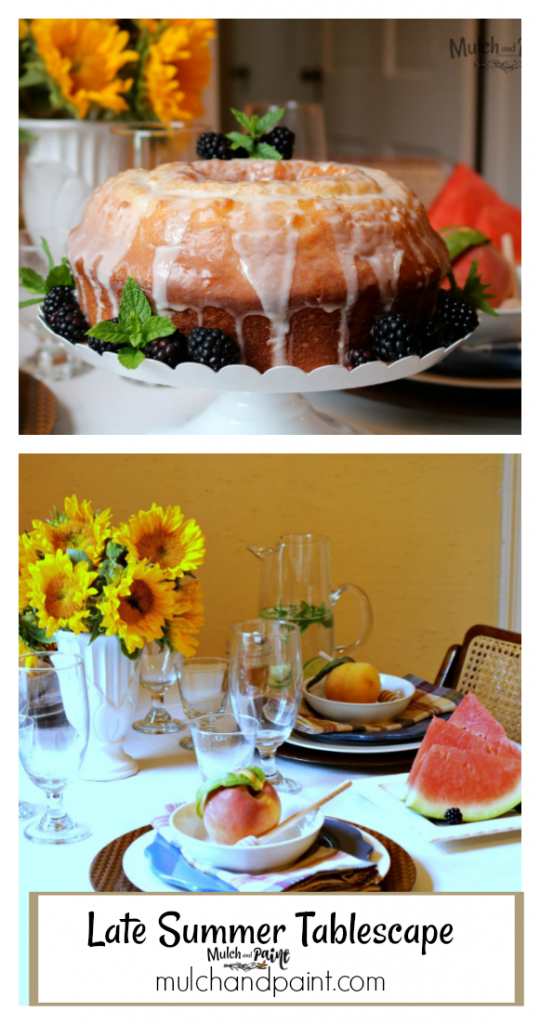 Late Summer Tablescape with sunflower centerpiece