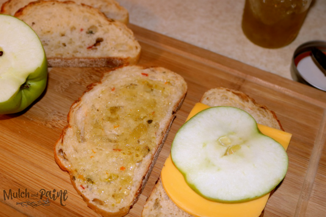 Hot Pepper Jelly and Apple Sandwich with Cheddar Cheese