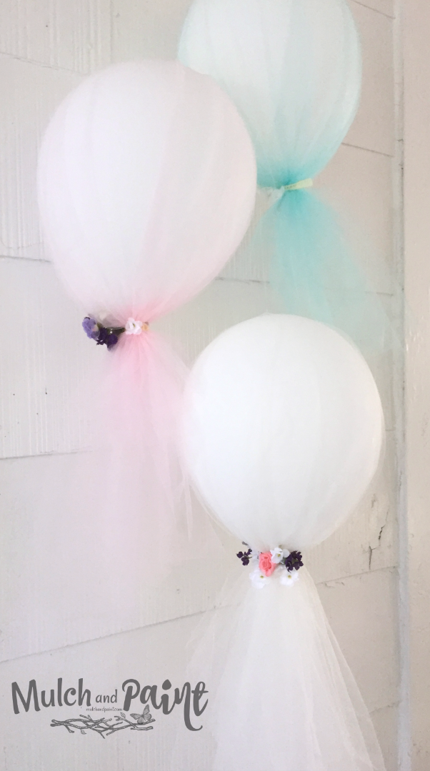 Birthday Tea Balloons, Tea Party Decorations, Tea Party Ideas, Balloons decorated with tulle