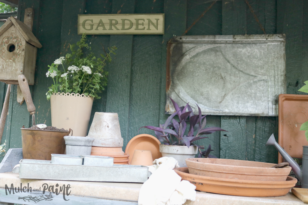 Potting Shed Update, Potting Bench Makeover, Potting Bench, Potting Bench Decor