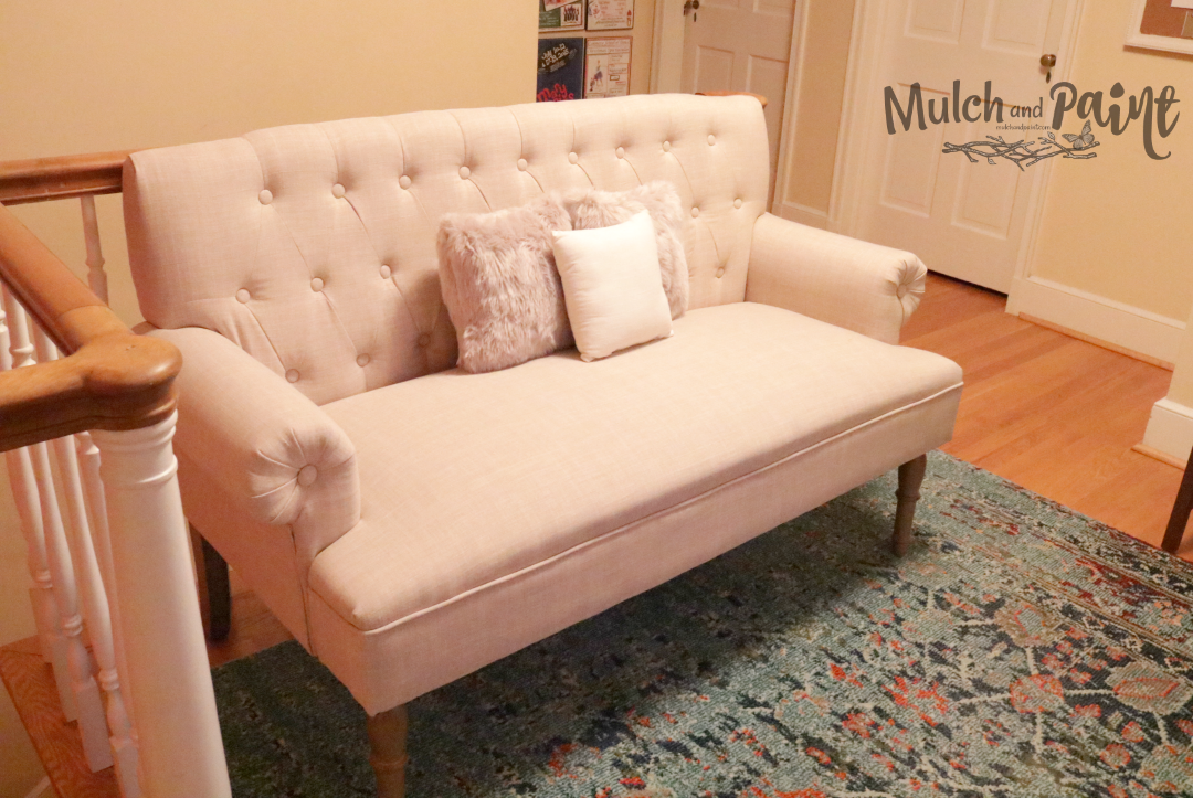 Loft decor with settee from Joss & Main, home office decor