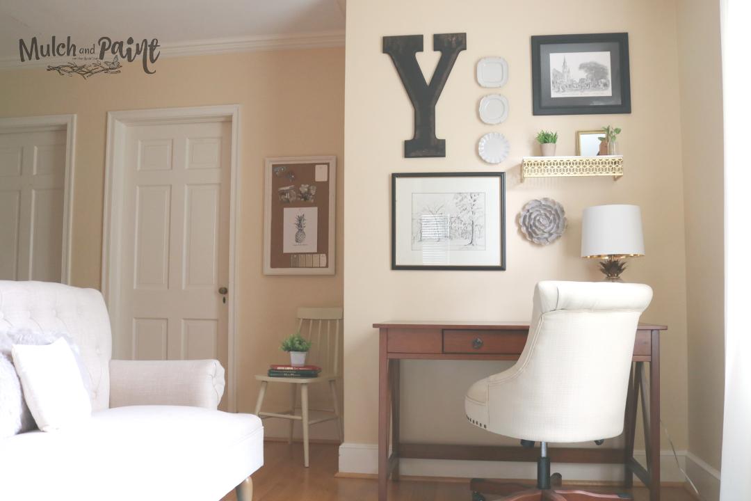 Loft decor with wall art, home office decor