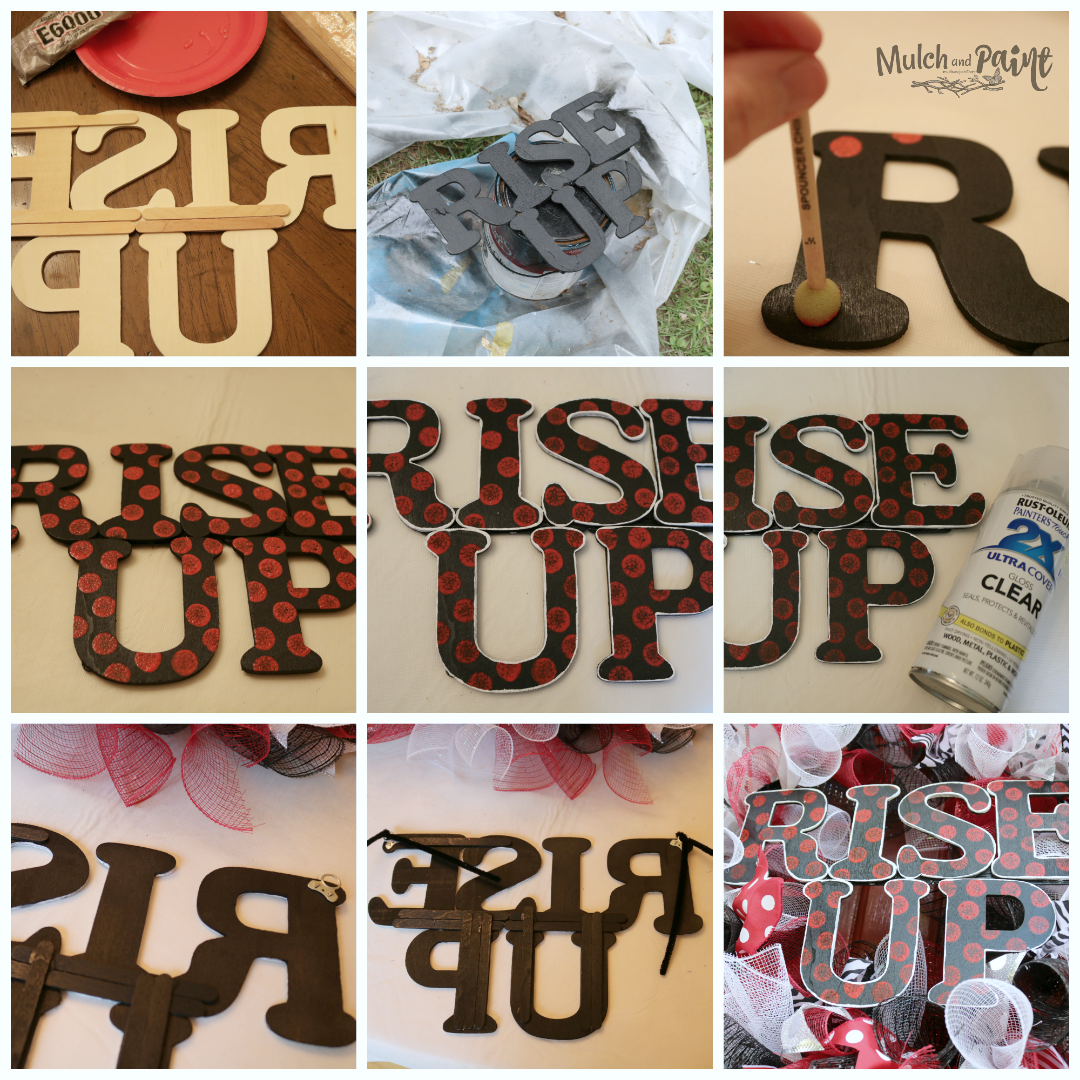 Mesh Wreath DIY Rise Up Letters