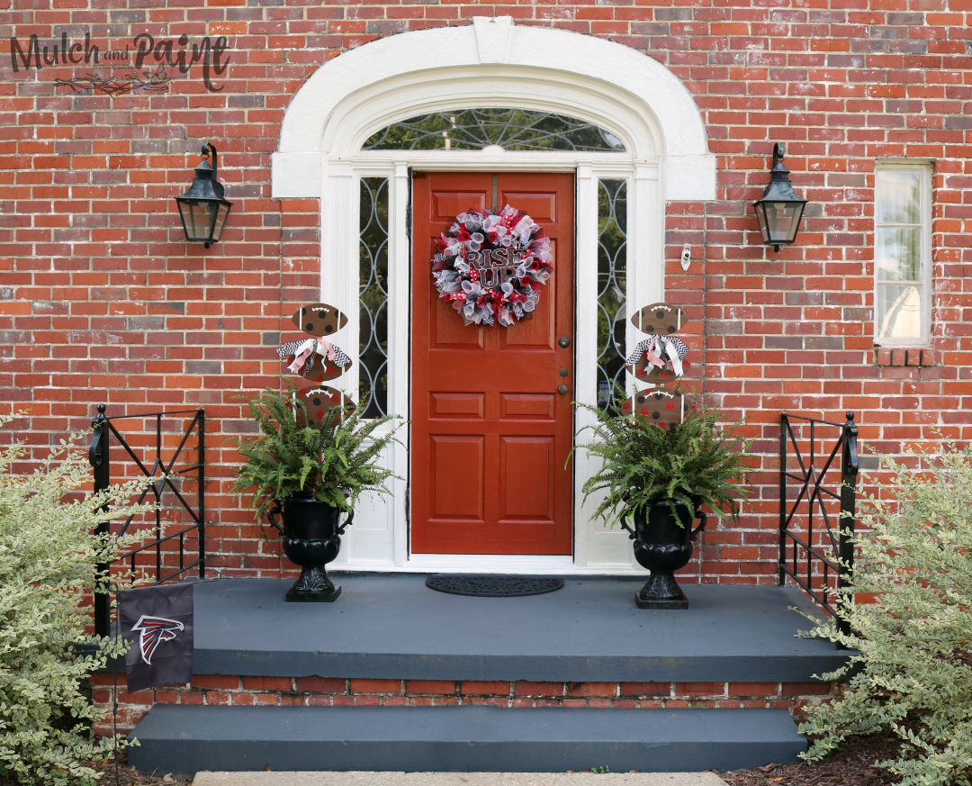 Mesh Wreath DIY,Rise Up Falcons Front Door Decor, Dollar Tree Wire Wreath, Front Door Decor
