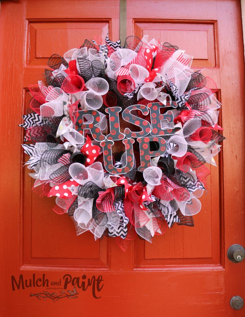 Mesh Wreat DIY Football, Atlanta Falcons Wreath, Rise Up Falcons Wreath