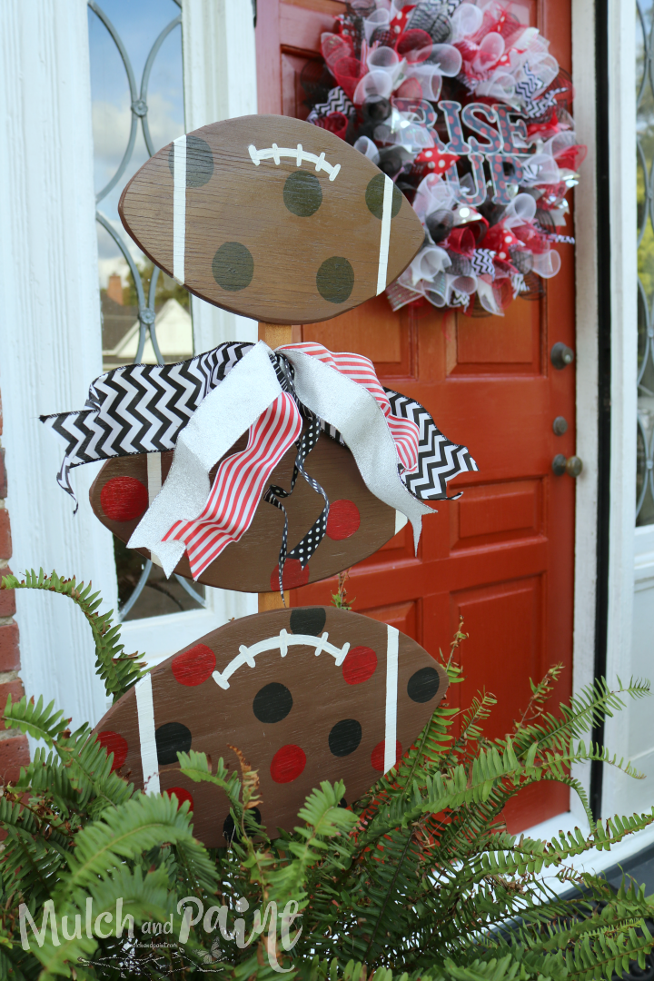 Wooden Football Tower For Front Door Decor