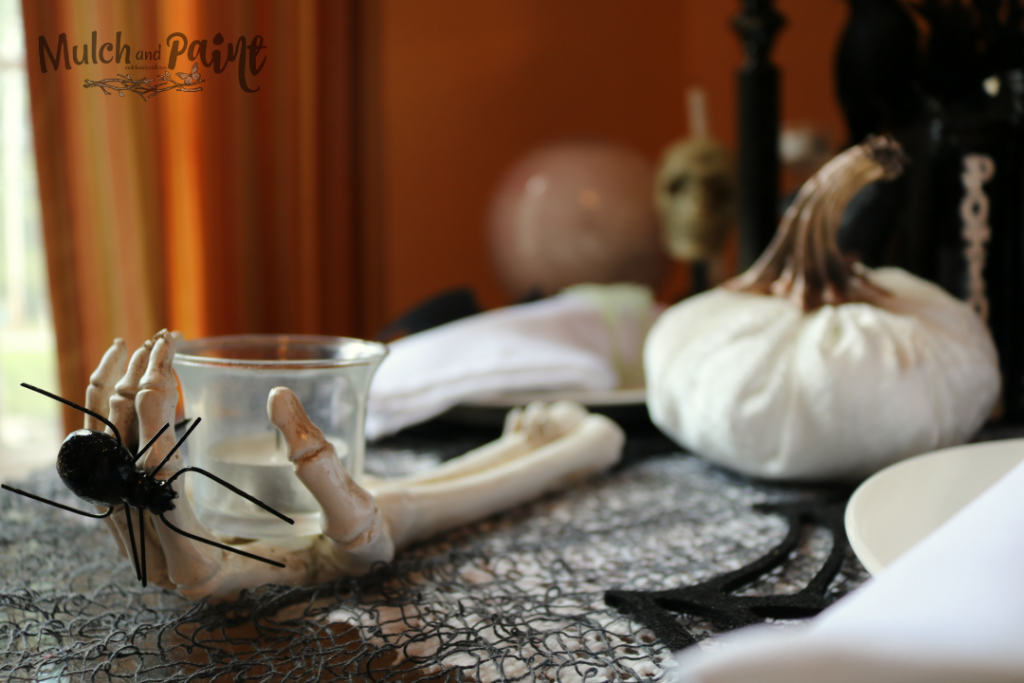 Black and White Halloween tablescape decor