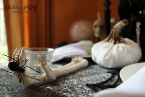 Black and White Halloween tablescape decor