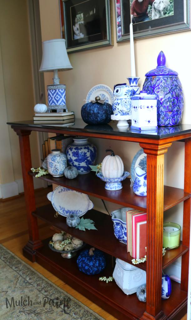 Blue Fall Decor in foyer with DIY dollar fabric pumpkin tutorial