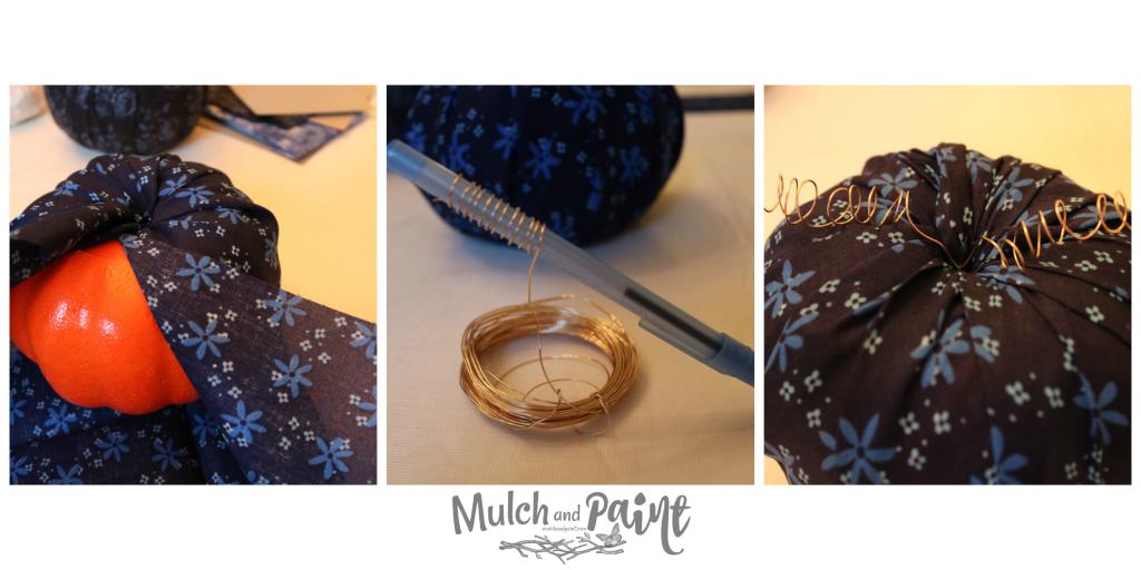 Fabric Pumpkins DIY with Dollar Tree pumpkins Steps 4-6