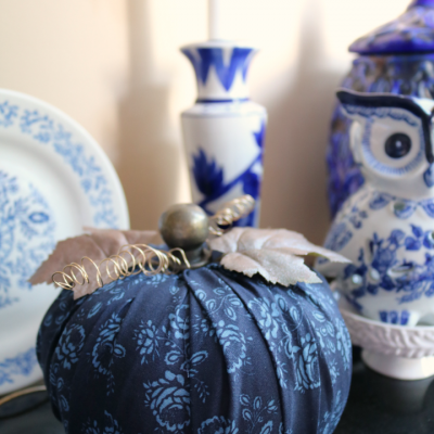 Blue Fall Decor with Fabric Pumpkin Tutorial