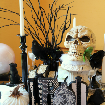 Spooky Halloween Tablescape with Velvet pumpkins