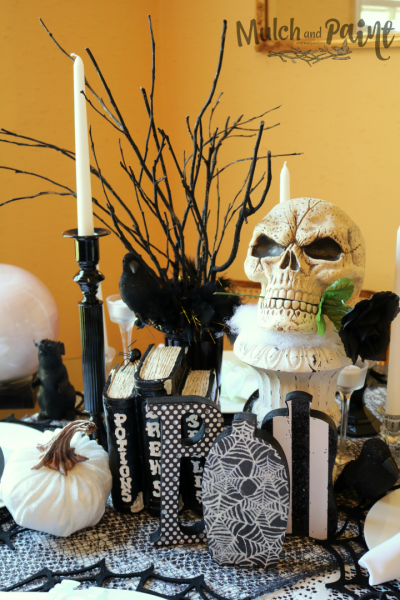 Halloween black and white tablescape with DIY BOO letters