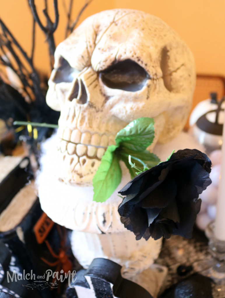Skull centerpiece for Halloween tablescape