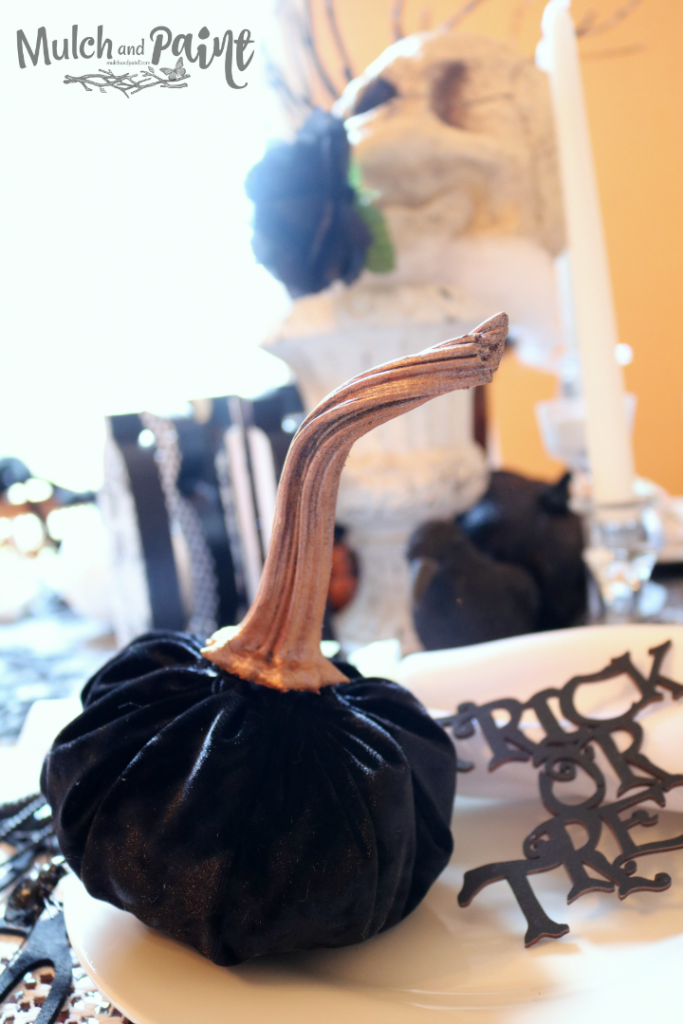 Velvet pumpkin on Halloween tablescape
