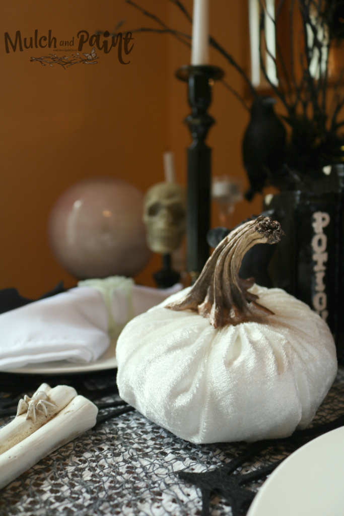 White velvet pumpkin on Halloween tablescape