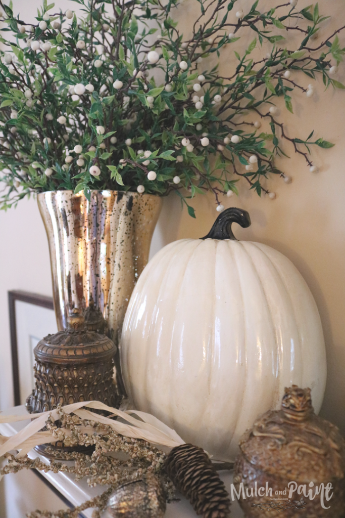 Fall Decor with white pumpkin and gold accents
