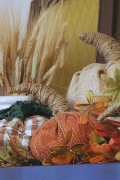 Fall Home Decorating with wheat burlap pumkins and dried hydrangea