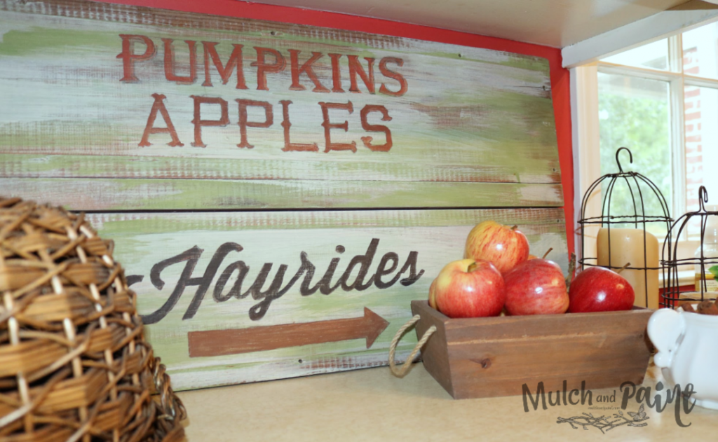 Pumpkins Apples Hayrides Sign