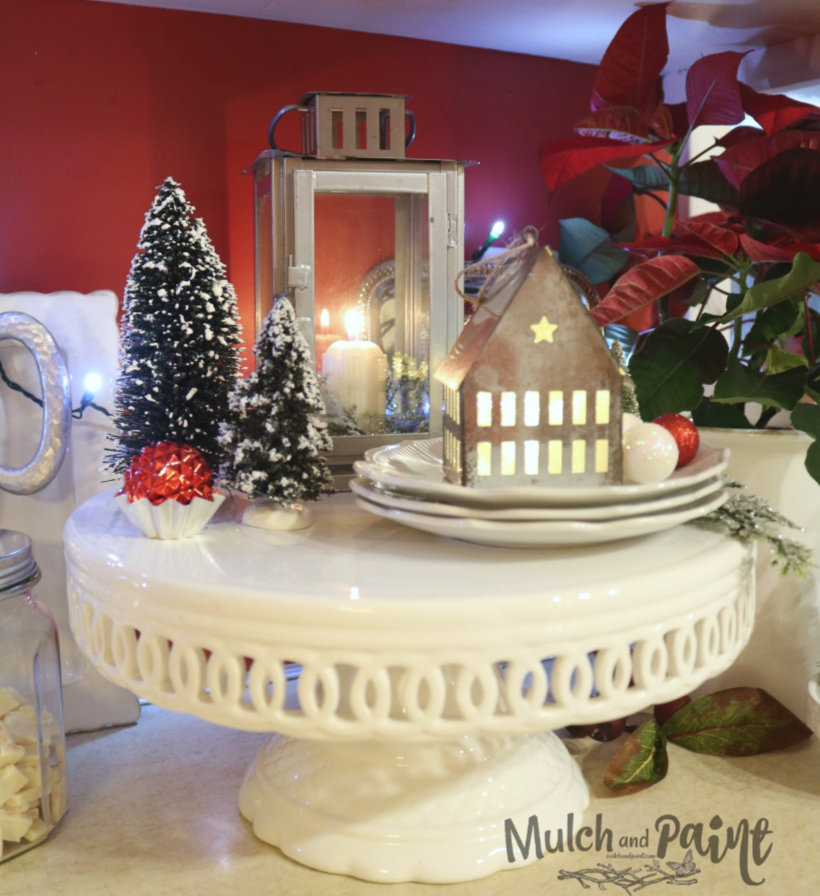 Kitchen Christmas white cake stand with house and trees