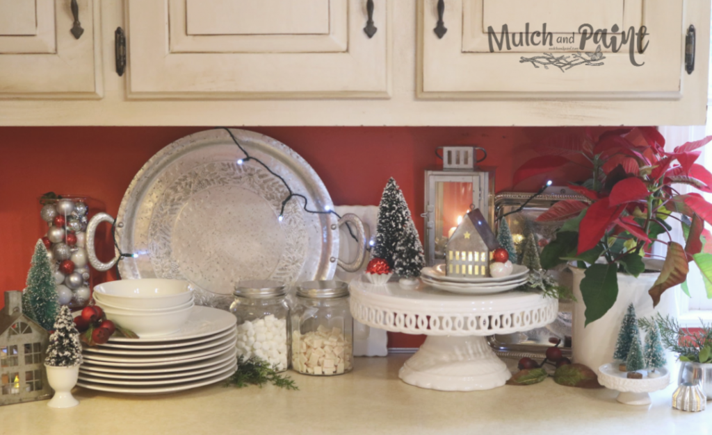 Kitchen counter Christmas decor