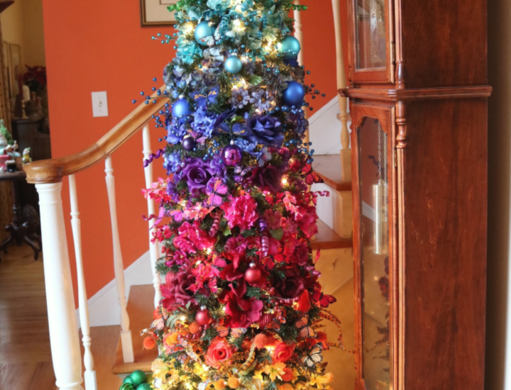 Rainbow Christmas Tree lighted in foyer