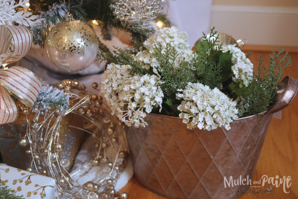 Rose Gold Christmas Tree decor metal bucket filled with flowers and ornaments
