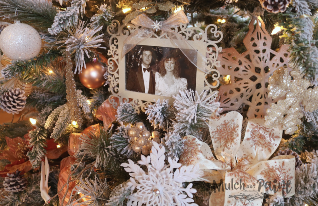 Rose Gold Christmas Tree decorated picture frames with bows
