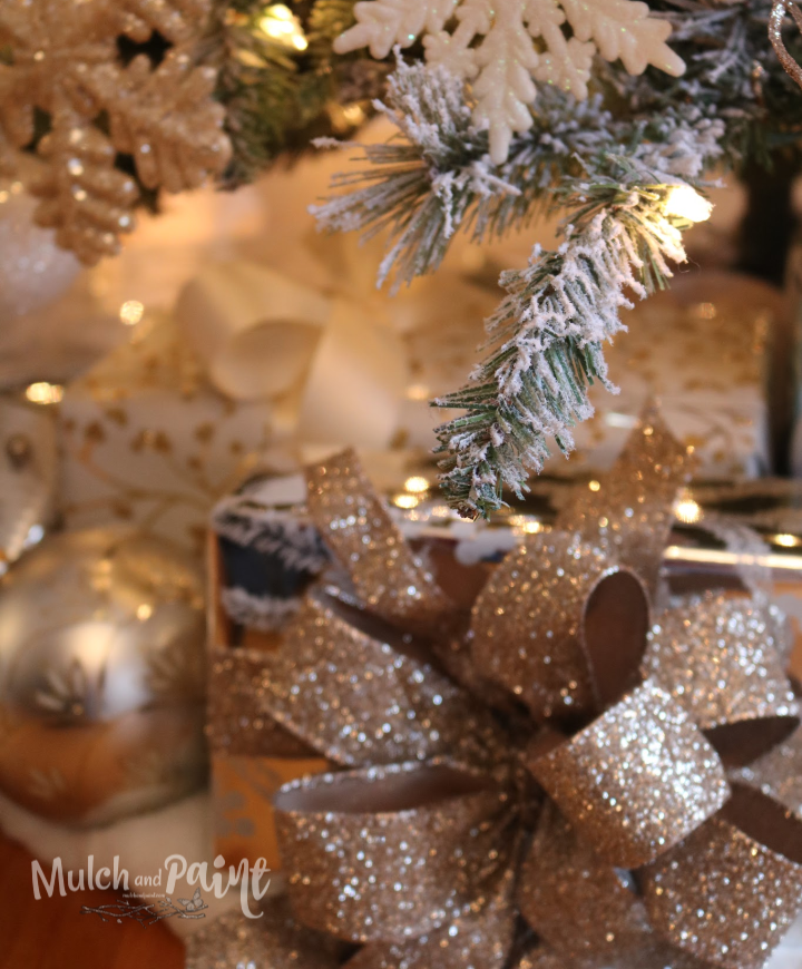 Rose Gold Christmas Tree gifts under the tree
