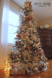 Rose Gold Christmas Tree in bedroom full view