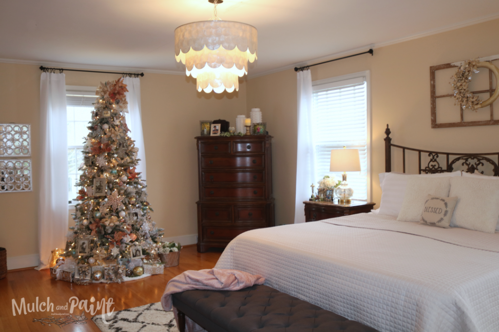 Rose Gold Christmas tree in master bedroom 2018