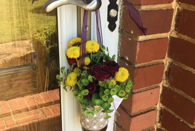 May Day Basket hanging on front door