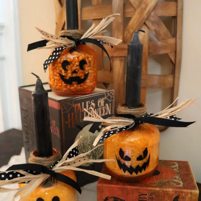 DIY Jack o'Lanterns from Apple Juice Jars