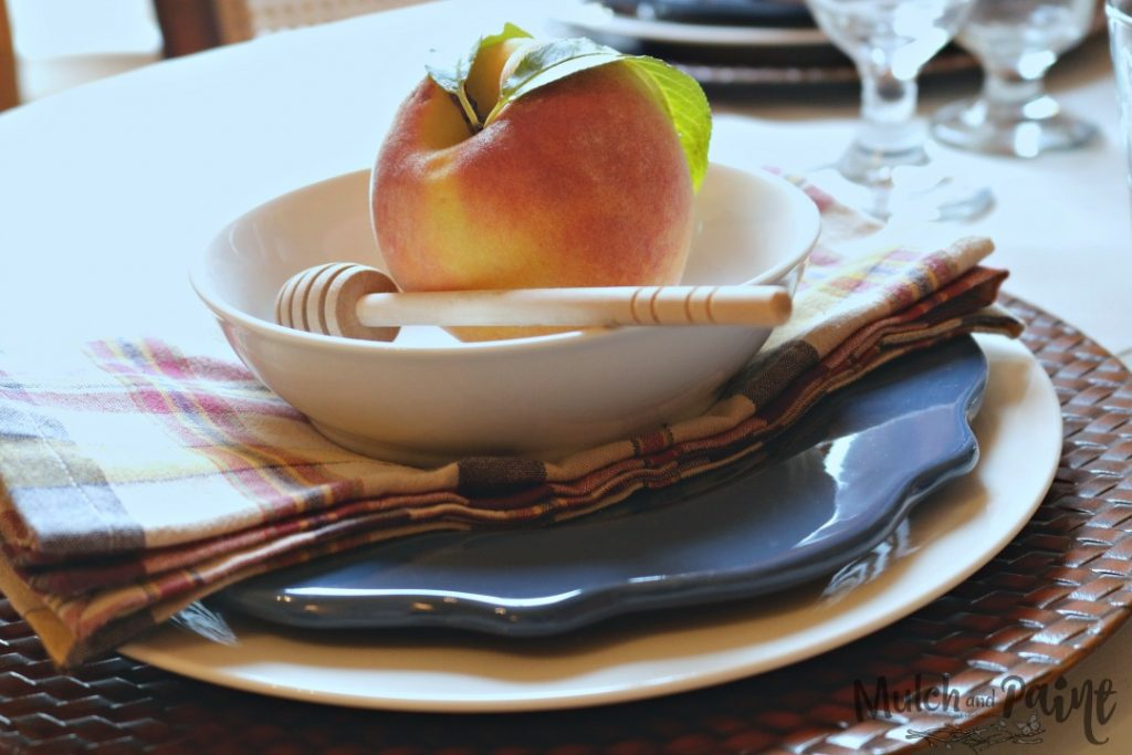Late Summer Tablescape, Inexpensive, Sunflowers, Peaches