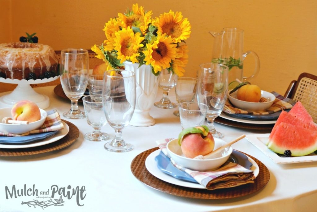 Late Summer Tablescape-Sunflowers-Watermelon-Peaches