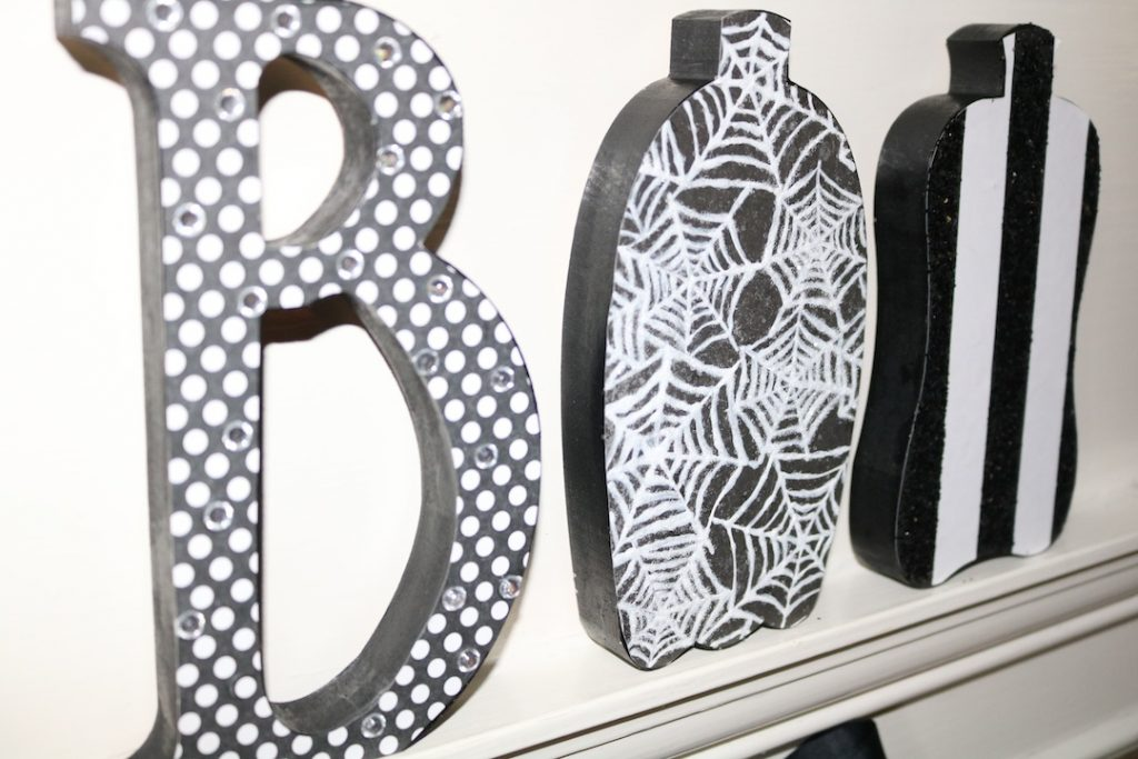 Boo Halloween Letters from Hobby Lobby, Black and White Mantle Decor, Halloween Mantle Decorations